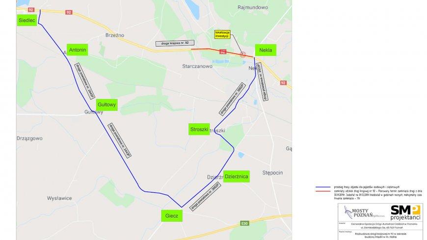 W nocy 30.11/01.12.2019 r. nastąpi całkowite zamknięcie odcinka drogi krajowej nr 92
